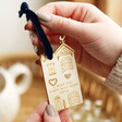Lisa Angel Meaningful Heart Stud Earrings on Personalised Wooden House