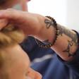 Men's Malachite Personalised Semi-Precious Stone Initial Bracelet From Lisa Angel On Model