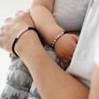 Lisa Angel Men's Handmade Cube Bead Name Bracelet in Black on Model