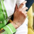 Model Wearing Lisa Angel Ladies' Personalised Heart Outline Charm Bracelet