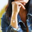 Lisa Angel Personalised Sterling Silver Double Wide Heart Charm Bracelet on Model