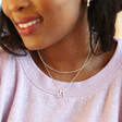 Ladies' Personalised Gold Sterling Silver Double Heart Outline Necklace on Model