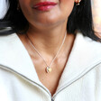 Model Wearing Lisa Angel Ladies' Personalised Solid Gold and Sterling Silver Heart Necklace