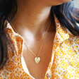 Model Wearing Lisa Angel Personalised Sterling Silver Birth Flower Heart Necklace