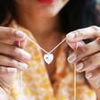 Model Wearing Lisa Angel Delicate Personalised Sterling Silver Birth Flower Heart Necklace