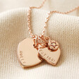Lisa Angel Rose Gold Personalised 40th Birthday Double Heart and Birthstone Necklace