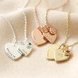 Lisa Angel Ladies' Personalised 40th Birthday Double Heart and Birthstone Necklaces