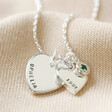 Lisa Angel Silver Personalised 40th Birthday Double Heart and Birthstone Necklace