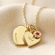 Lisa Angel Gold Personalised 40th Birthday Double Heart and Birthstone Necklace
