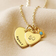 Lisa Angel Gold Personalised 50th Birthday Double Heart and Birthstone Necklace