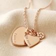 Lisa Angel Rose Gold Personalised 50th Birthday Double Heart and Birthstone Necklace