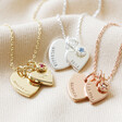 Lisa Angel Ladies' Personalised 60th Birthday Double Heart and Birthstone Necklace