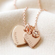 Lisa Angel Rose Gold Personalised 60th Birthday Double Heart and Birthstone Necklace