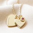 Lisa Angel Gikd Personalised 60th Birthday Double Heart and Birthstone Necklace