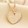 Lisa Angel Rose Gold Sterling Silver Quote Heart Charm Necklace