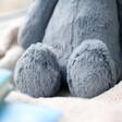 Lisa angle with Fluffy Jellycat Bashful Dusky Blue Bunny Soft Toy