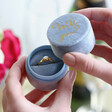 Lisa Angel Round Personalised Blue Velvet Ring Box