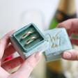 Lisa Angel Wedding Personalised Green Velvet Earrings Box