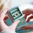 Lisa Angel Square Personalised Green Velvet Earrings Box