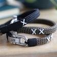 Lisa Angel Men's Personalised Family Kiss Woven Cord Bracelet