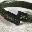Lisa Angel Men's Engraved Personalised Initials Woven Leather Bracelet
