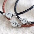 Lisa Angel Men's Personalised Leather Bracelet with Disc Clasp