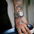 Men's Adjustable Black and White Rope Bracelet on Model