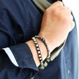 Model Wearing Lisa Angel Men's Black Cord and Resin Terrazzo Bead Bracelet