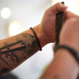 Lisa Angel Men's Brown Woven Leather Hook Clasp Bracelet on Model