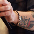 Lisa Angel Men's Personalised Brown Woven Leather Hook Clasp Bracelet on Model