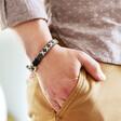 Lisa Angel Men's Personalised Family Kiss Woven Cord Bracelet on Model