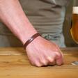Model Wearing Men's Personalised Leather Strap Bracelet