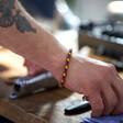 Slim Rainbow Braided Leather Bracelet on Model