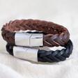 Lisa Angel Men's Thick Woven Leather Bracelet