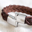 Men's Thick Brown Woven Leather Bracelet from Lisa Angel