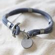 Lisa Angel Personalised Sentimental Men's Rope and Anchor Bracelet in Grey