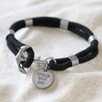 Lisa Angel Personalised Sentimental Men's Rope and Anchor Bracelet in Black