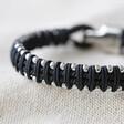 Lisa Angel Men's Woven Black Cord and Stainless Steel Bead Bracelet