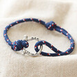 Lisa Angel Blue Personalised Stainless Steel Clasp and Nautical Cord Bracelet