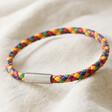 Lisa Angel Men's Slim Rainbow Braided Leather Bracelet