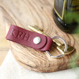 Lisa Angel Burgundy Personalised Debossed Leather Strap Keyring