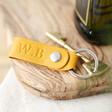 Lisa Angel Yellow Personalised Debossed Leather Strap Keyring