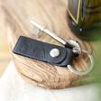 Lisa Angel Men's Black Personalised Debossed Leather Strap Keyring