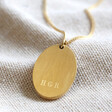 Lisa Angel Men's Engraved Gold Personalised Stainless Steel Oval Pendant Necklace