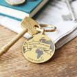 Lisa Angel Gold Personalised World Stainless Steel Disc Keyring
