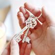 Lisa Angel Silver Personalised Vintage Style Key Keyring