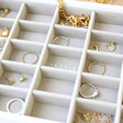 Lisa Angel Ladies' Stackers Classic 25 Section Jewellery Tray in White Close Up