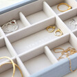 Lisa Angel Stackers Mini 11 Section Jewellery Tray in Blue Close Up