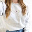 Lisa Angel Ladies' Personalised Embroidered Birth Flowers Sweatshirt in White