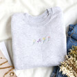 Lisa Angel Cotton Personalised Embroidered Birth Flowers Sweatshirt in White